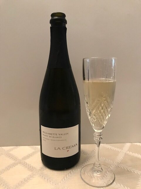 Photo of La Crema Willamette Valley Blanc de Blanc 2015 bottle and flute